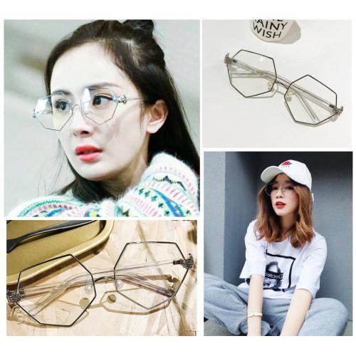 楊冪同款時尚潮流不規則造型眼鏡,另外可配度數需額外報價