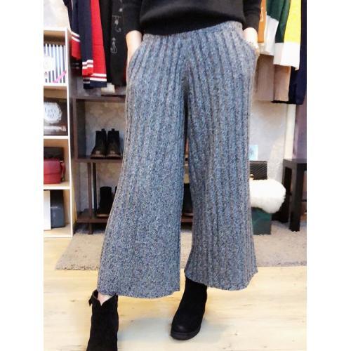 L053氣質休閒直條紋針織寬鬆長褲