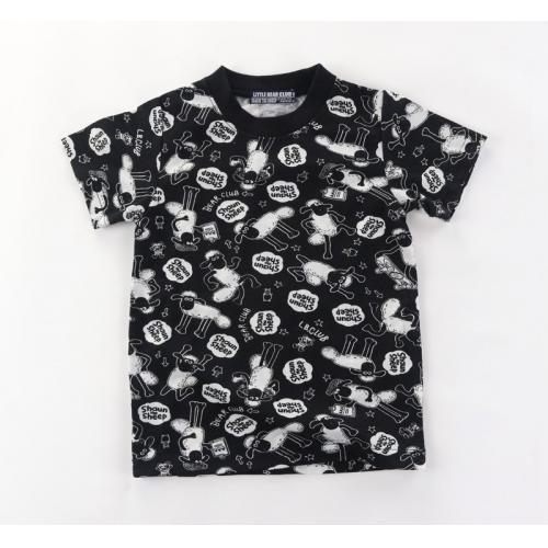 KB21Y-0510-104-日本特價款童裝---日本火爆款小羊肖恩滿版圖案短袖T恤-童裝