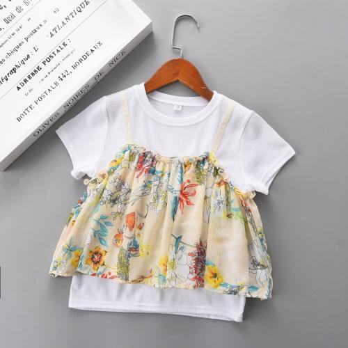 KB21Y-0510-107-日本特價款童裝---可愛女童假兩件拼接上衣雪紡短袖T恤-童裝