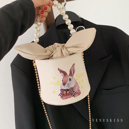 甜美可愛兔子印花珍珠鍊條蝴蝶結水桶包-VKS627-包包