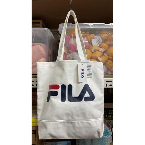 KB21Y-0419-070-韓國Fila限量特價高質感白色帆布購物袋-團批群組